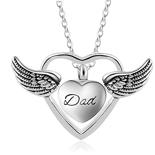 Eternally A Piece of My Heart Lives in Heaven Religious Angel Wing Ashes Urn Cremation Necklace Jewelry