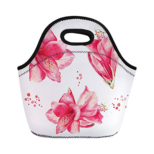 Semtomn Lunch Bags Pink Exotic Watercolor Floral Vintage Lily Flowers Collection Neoprene Lunch Bag Lunchbox Tote Bag Portable Picnic Bag Cooler Bag