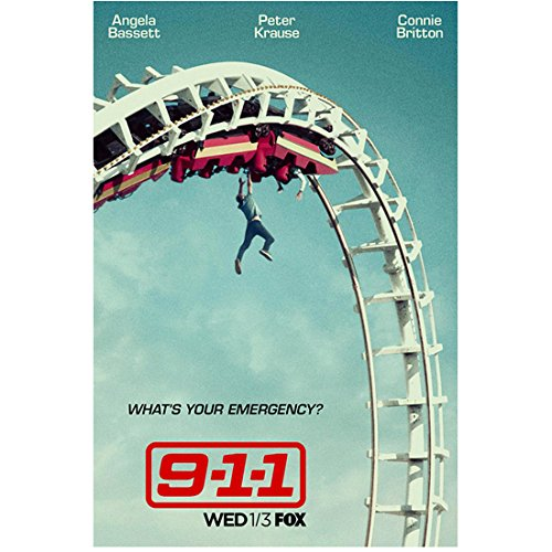 (Angela Bassett 8 Inch x 10 Inch Photograph 9-1-1 (TV Series 2018 -) Person Hanging from Roller Coaster Title Poster kn)