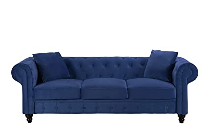 Divano Roma Furniture Classic Velvet Scroll Arm Tufted Button Chesterfield  Sofa (Blue)