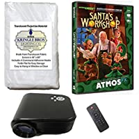 Christmas Digital Decoration Kit includes 800 x 480 Resolution Projector, 60 x 40 Kringle Brothers High Resolution Window Rear Projection Screen and AtmosCHEERFx Santas Workshop on DVD