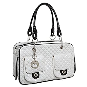 3. MyGift White Quilted Designer Inspired Faux Patent Leather Pet Carrier