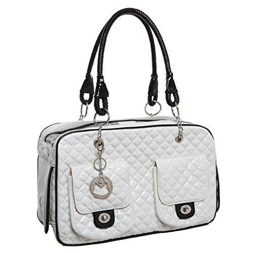 MG Collection White Quilted Designer Inspired Faux Patent Leather Dog & Cat Pet Carrier Tote Handbag (Privacy Keychain Collection)