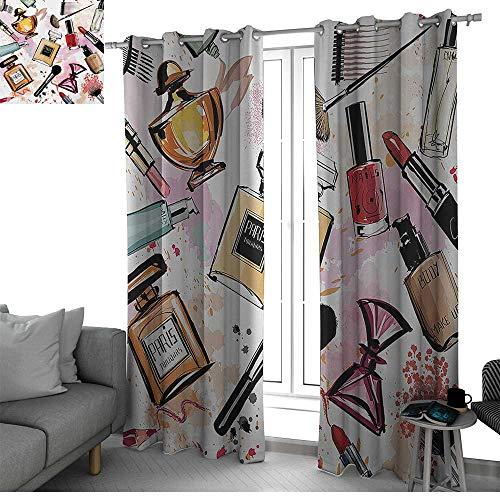 Benmo House GirlsCosmetic and Makeup Theme Pattern with Perfume Lipstick Nail Polish Brush Modern Lady Window Curtain 2 Panel
