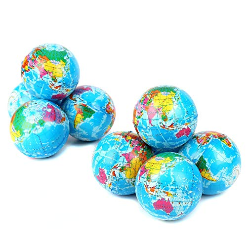 Fun Central BC735 12 pcs, 3 inches Globe Squeeze Ball, Stress Balls, Squeeze Balls, Squeeze Stress Ball, Squeezing Ball, Squeeze Ball Set, Soft Squeeze Ball ()
