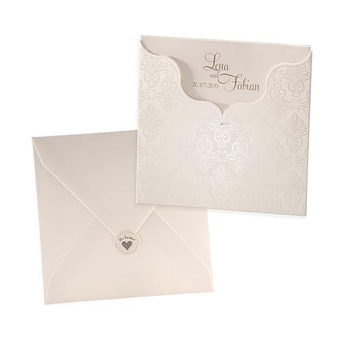 Klassische Einladungskarte Charlene Für Die Hochzeit, Perlmutt Mit  Ornamenten   Blanko Hochzeitseinladung Mit Umschlag Und
