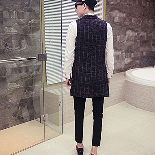 Oversized Casual Waistcoat Size ropa Mens Blazer Jacket Elegant de Plus Vest Black Long Zhhlinyuan Suit calle If700w