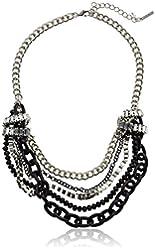 "Steve Madden Crystal Baguette Knot Multi Chain Necklace, 20"""