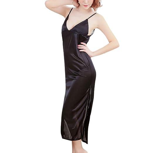 6982e32f393a3 Women s Satin Nightgown Long Slip Sleeveless Sleepwear Night Dress Sexy Night  Wear for Women Black