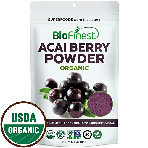 Biofinest Acai Berry Juice Powder - 100% Pure Freeze-Dried Antioxidant Superfood - USDA Organic Vegan Raw Non-GMO - Cleanse Digestion Weight Loss - for Smoothie Beverage Blend (4 oz Resealable Bag) -