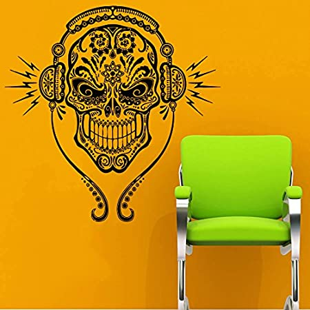Wall Decals DJ Sugar Skull Tattoo Floral Pattern Damask Music Style ...