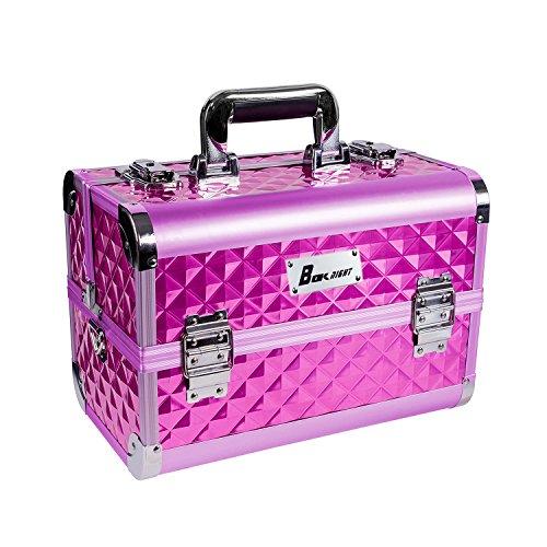 BOKNIGHT Beauty Pro Cosmetic Aluminum Makeup Train Case With