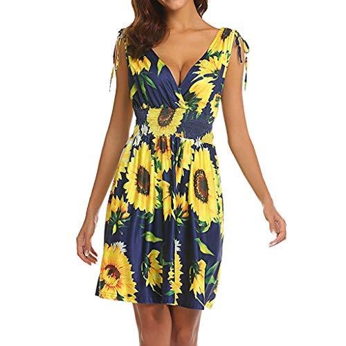 (Women's Summer Casual T Shirt Dresses Vintage Sunflower Pleated Tank Dress Wrap V Neck Empire Waist Mini Dress Yellow)
