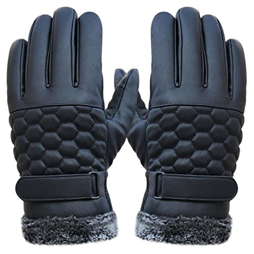 Winter Mens Gloves, Bestpriceam Black Winter Leather Motorcycle Full Finger Touch Screen Warm Gloves (Black 2, M)
