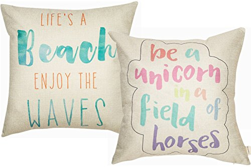 Foozoup Be a Unicorn in a Field of Horses Funny Motivational Sign Inspirational Quote Cotton Linen Decorative Throw Pillow Case Cushion Cover with Words Life's a Beach for Sofa Couch 18