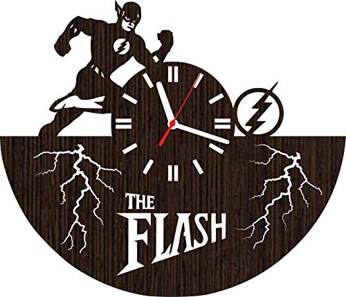 Wooden wall clock the flash tv show series barry allen superhero for men women kids room decor justice league characters dc comics marvel girls pop cosplay costume dvd party season 1 2 3 4 vinyl]()