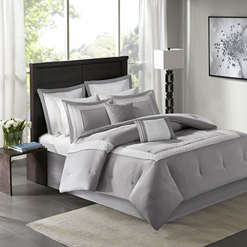8-Piece Embroidered Comforter Set Cal King Gray includes Comforter-bedskirt-2 King shams-2 Euro Shams-2 Decorative Pillows ()