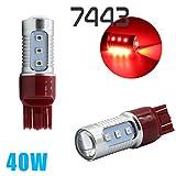 High Power Red Stop Brake 2835 Flash Strobe Rear Alert Safety 12-LED Light Bulbs (7443)