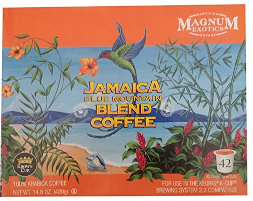 Gourmet Mountain Coffee Blue - Magnum Exotics Jamaica Blue Mountain Blend Coffee K-Cups, 42 Count (42 Count)