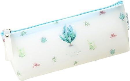 Lumanuby 1 x Planta Estuche Funda de Silicona Resistente al Agua Gran Capacidad para Lápices para niña y Mujer portátil Neceser pequeño con Cremallera Size 21 * 8.2 * 3.8 Cm (Agave): Amazon.es: Hogar
