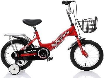 Bicicletas Infantiles para NiñO Chica, Bicicleta para 4-7 AñOs con Ruedas De Entrenamiento Frenos Asiento Trasero Marco Acero Cesta Campana Asa Asiento Ajustable 16 Pulgadas, Rojo/Blanco, Red: Amazon.es: Deportes y aire libre