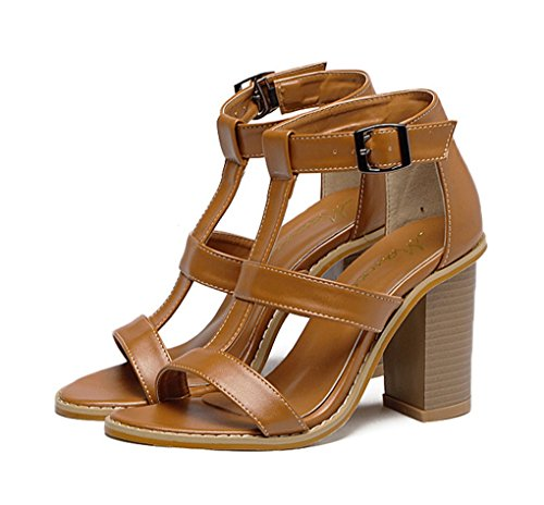 JAZS® Bretelles Hollow Cross Sandales à Talons Hauts épaisses Sexy New Style Fashion Sweet Élégant à la Mode Marron cwurZ