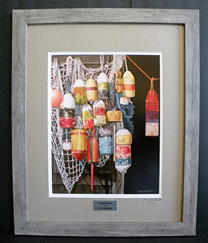 Numbered Limited Edition Art - Lobster Trap Buoys Fishing Nets Nautical Wall Art, Realism, Limited Edition Custom Framed Print, Signed & Numbered w/certificate - Original Oil Painting by John Guillemette