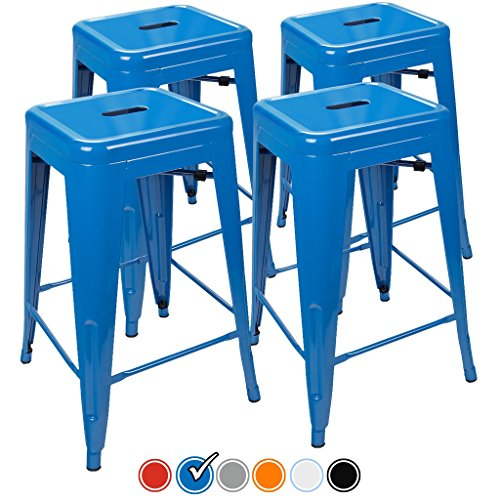 "24"" Counter Height Bar Stools,! (BLUE) by UrbanMod, [Set Of 4] Stackable, Indoor/Outdoor, Kitchen Bar Stools,! 330LB Limit, Metal Bar Stools! Industrial, Galvanized Steel, Counter Stools!"