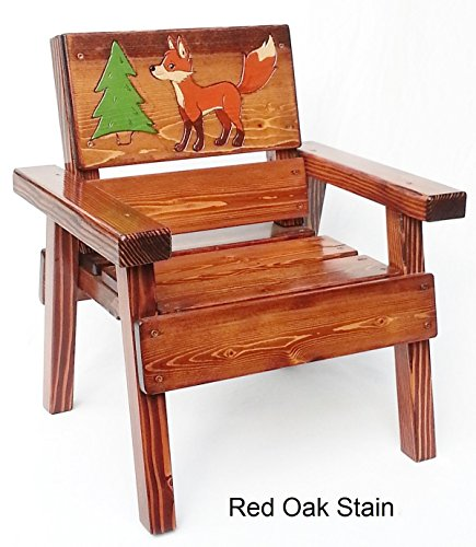 Kids Wood Fox Chair with Arms, Heirloom Gift, Patio or Garden Furniture, Engraved and Painted (Patio Material Ideas)
