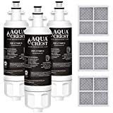 AQUACREST NSF 401, 53&42 Refrigerator Water Filter and Air Filter, Compatible with LG LT700P, Kenmore 9690, 46-9690, ADQ36006101, ADQ36006102 and LT120F (Pack of 3)