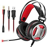 Gaming Headset PC Gaming Headphones PS4 Xbox One, 3.5mm Newest 4D Super Bass Stereo Laptop,Mac, iPad, Mac Switch Nintendo Switch (Audio) LED Lights & Noise-canceling Microphone(Black+Red