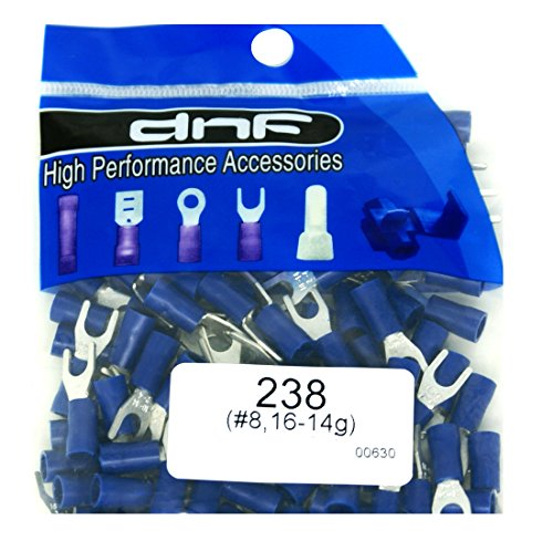 DNF 100 Pack Copper 16-14 Gauge Blue Spade Electrical Terminals #8