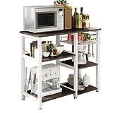 Mixcept Multi-purpose 3-tier Kitchen Baker's Rack Utility Microwave Oven Stand Storage Cart Workstation Shelf W5S-BK-MI (Black)