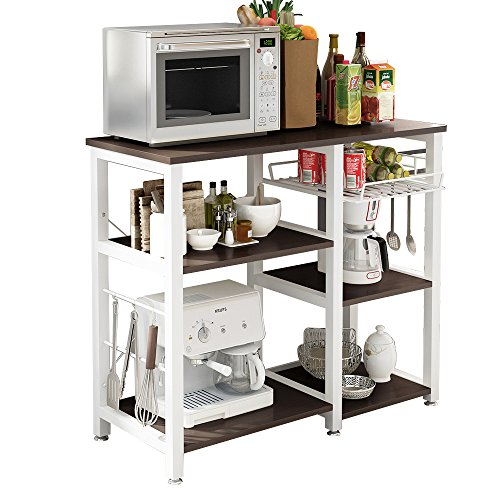 Storage Microwave Cart - SogesHome 3-Tier Microwave Stand Cart with Storage and Drawer Kitchen Baker's Rack Workstation Shelf Black, SH-W5s-BK