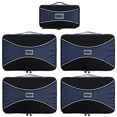 Pro Packing Cubes (5 Piece) - Luggage Packing Organizer Set Features Heavy-Duty YKK Zippers - Reinforced Stitching - Waterproof, Rip Stop Nylon - Conveniently Fits In Your Suitcase - Be Better Organized, Pack Faster & Breeze Through Security (Marine Blue)