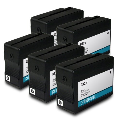 Remanufactured HP 932xl CN053AN 5 Black for OfficeJet 6100 OfficeJet 6600 OfficeJet 6700 OfficeJet 7110 OfficeJet 7610 Ink Cartridges for Inkjet Printers (5 Pack)