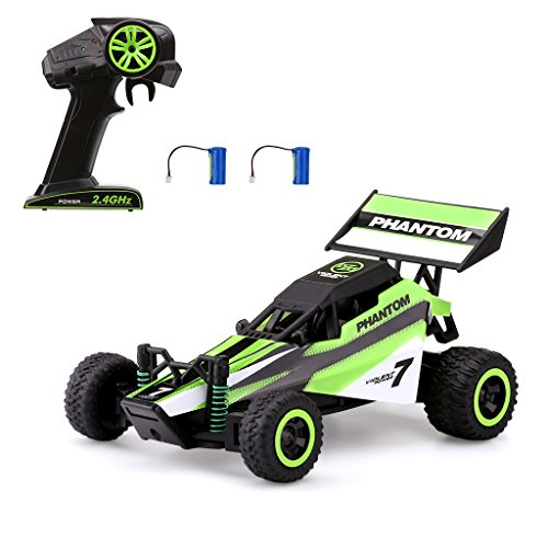 Virhuck 1/32 Mini RC Racing Car 2.4GHz High Speed Off Road Remote Control Car with 2 Batteries and 6pcs Barricades, Indoor or Outdoor Car Toys Gifts for Kids, Green