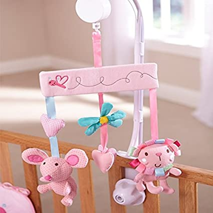 Clair de Lune Lottie and Squeek Musical Mobile in Pink