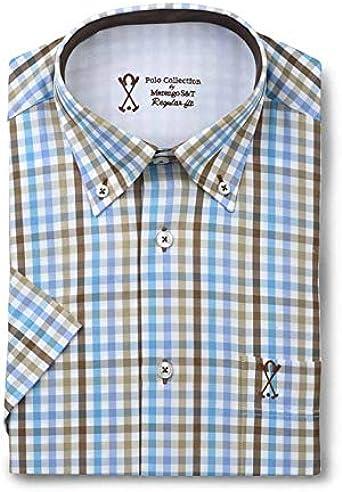 Camisa de Hombre Manga Corta, con Estampado de Cuadros Vichy ...