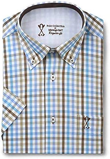 Camisa de Hombre Manga Corta, con Estampado de Cuadros ...