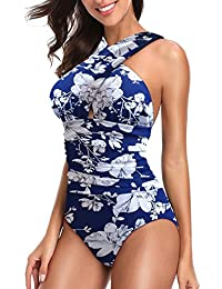 Women's Swimsuits One Piece Tummy Control Front Cross...