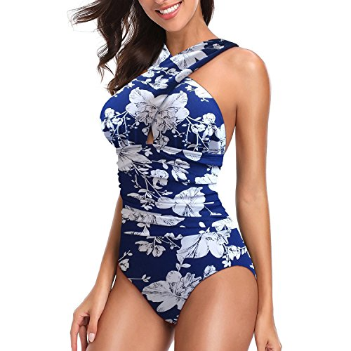 Womens One Piece Floral Swimsuits Front Cross Sexy Backless Tummy Control Bathing Suits