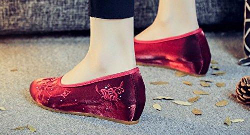 Avacostume Scarpe Da Donna Con Tacco A Zeppa Con Tacco A Punta Di Lusso In Tinta Unita, Vino Rosso