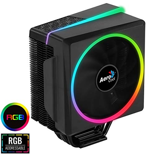 Aerocool Cylon 4 ARGB CPU Cooler,  1 x 120mm PWM Fan, ASUS Aura Sync, Mystic Light Sync, Gigabyte RGB Fusion, Compatible for AMD and Intel Platforms, The Perfect Air Cooling Solution   Black