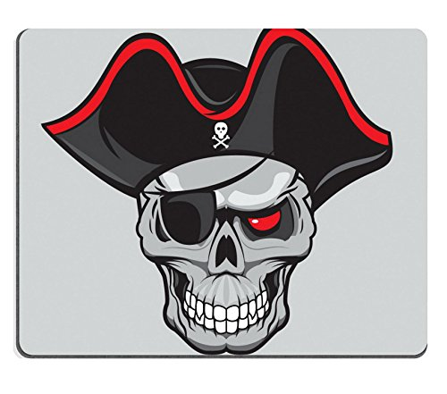 Luxlady Mouse Pad Natural Rubber Mousepad IMAGE ID: 36132304 pirate skull with hat isolated for tattoo or t shirt