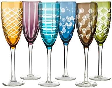 Pols Potten - juego de copas de champán con corte Mulitcolor - juego de 6 - copas de vino espumoso en 6 colores diferentes, 6 cortes diferentes - copas de champán aptas para el lavavajillas