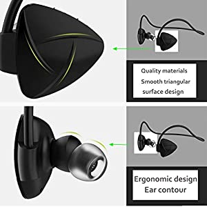 LarKoo Foldable NFC Wireless Bluetooth Neckband Workout Headset IPX5 Headphone In-ear Sweatproof Sports Running Earbuds Noise Cancelling 6 Hours Play Time with Mic