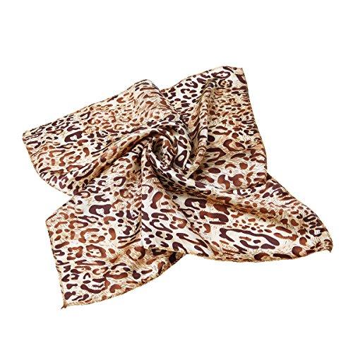 Premium Silk Feel Animal Print Square Satin Scarf,