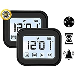 Kitchen Timer Digital Alarm Clock LCD Touchscreen Magnetic Backing Come with Night light 2 Modes Mute / Ring, Black (2)