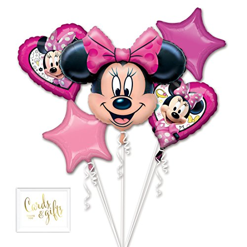 - Andaz Press Balloon Bouquet Party Kit with Gold Cards & Gifts Sign, Minnie Happy Helper Foil Mylar Balloon Decorations, 1-Set